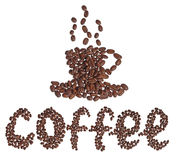 Cup of coffee from coffee beans Royalty Free Stock Image