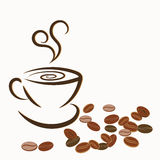 Cup of coffee and coffee beans on white background Royalty Free Stock Images