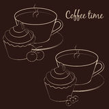 Cup of coffee for coffee break with cupcake and fruit. On brown background. Vector illustration Stock Images