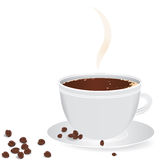 Cup of coffee with coffee grain. stock photo