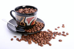 Cup of coffee with coffee grain Royalty Free Stock Photo