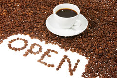 Cup with coffee, coffee grain. And inscription open from coffee, on white background stock photo