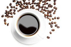 Cup of coffee with coffee grains Royalty Free Stock Photo