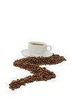 Cup from coffee on coffee grains isolated Stock Photos