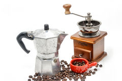 Cup of coffee with coffee maker on white Royalty Free Stock Photos