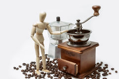 Cup of coffee with coffee maker on white Stock Photography