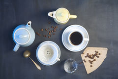 Cup of coffee,coffee pots,coffee filter Stock Images