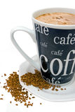 Cup of coffee and coffee powder Stock Photos