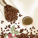 Cup of coffee and coffee seeds background Stock Photo