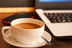Cup of coffee in coffee shop. Royalty Free Stock Photography