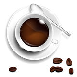 Cup of coffee, coffee spoon and coffee beans Stock Photography