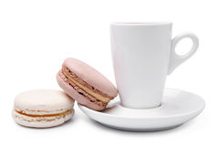 Cup of coffee  with colorful french macaroons Stock Photo