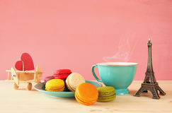 Cup of coffee and colorful macaron Stock Photography