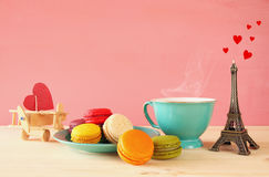 Cup of coffee and colorful macaron Royalty Free Stock Photography