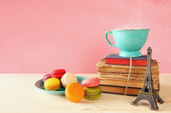 Cup of coffee and colorful macaron Royalty Free Stock Photos