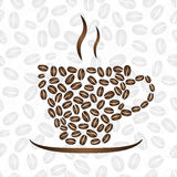 Cup of coffee, consisting of coffee beans Royalty Free Stock Image