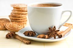 Cup of coffee and cookie Royalty Free Stock Images