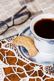 Cup of coffee and a cookie. royalty free stock photography