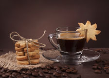 Cup of coffee with cookie Royalty Free Stock Photos