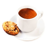 Cup of coffee and cookie with chocolate chips isolated on white Royalty Free Stock Photography
