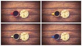 Cup of coffee and cookie. Coolage of four images with cup of coffee and cookie on wooden table. Above view Stock Image