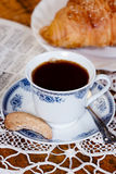 Cup of coffee, cookie and croissant. stock images