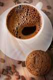 A cup of coffee with cookie Royalty Free Stock Images