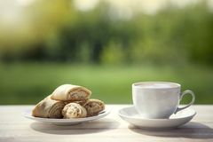 Cup of coffee and cookie on wooden table in the summer garden. Royalty Free Stock Images