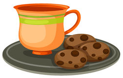 Cup of coffee with cookies royalty free illustration