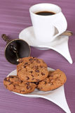 Cup with coffee and cookies. For breakfast Stock Photos