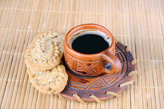 Cup of coffee and cookies Royalty Free Stock Photo