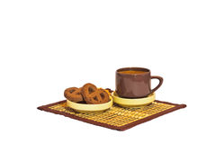 A cup of coffee and cookies. On a napkin. White background. Breakfast Stock Images