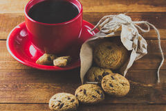 Cup of coffee and cookies with chocolate. background. toning Stock Image