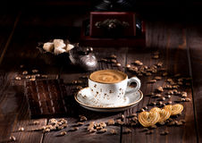 Cup coffee, cookies and chocolate royalty free stock photography