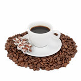 Cup with coffee, cookies and coffee beans Stock Images
