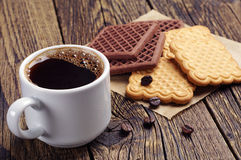 Cup of coffee and cookies Royalty Free Stock Images