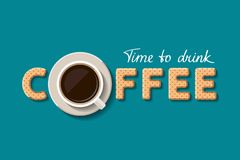 Cup of coffee and cookies. In form of letters are forming together the word `coffee`. Call for taking a cup of coffee. Flat style Royalty Free Stock Photography