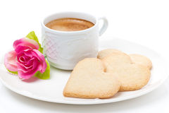 Cup of coffee, cookies and flower Valentine's Day, close-up Royalty Free Stock Photos