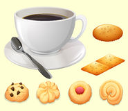 Cup of coffee and cookies stock illustration