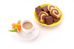 Cup of coffee and cookies isolated Royalty Free Stock Images