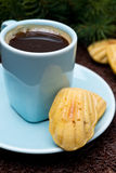 Cup of coffee and cookies madeleines, close-up, selective focus Stock Photography