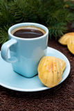 Cup of coffee and cookies madeleines and fir branches Royalty Free Stock Photo