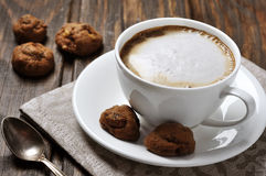 Cup of coffee with cookies Stock Photos