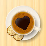 Cup of coffee and cookies on saucer Stock Photos
