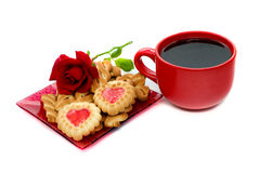 Cup of coffee and cookies. Are on a white background Royalty Free Stock Photos