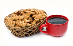 Cup of coffee and cookies. Are on a white background Stock Photography