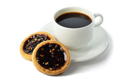 Cup of coffee and cookies. On a white background Royalty Free Stock Photo