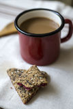 Cup of coffee  and cookies on  wooden background Royalty Free Stock Image
