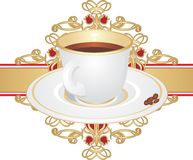 Cup with coffee and corns on the ornament Royalty Free Stock Image