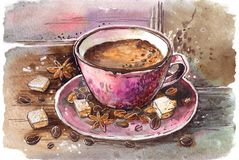 A cup of coffee. The cup of coffee costs on a table. around sugar and coffee beans stock illustration